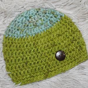 Aqua and Lime 0-3 Month Crochet hat